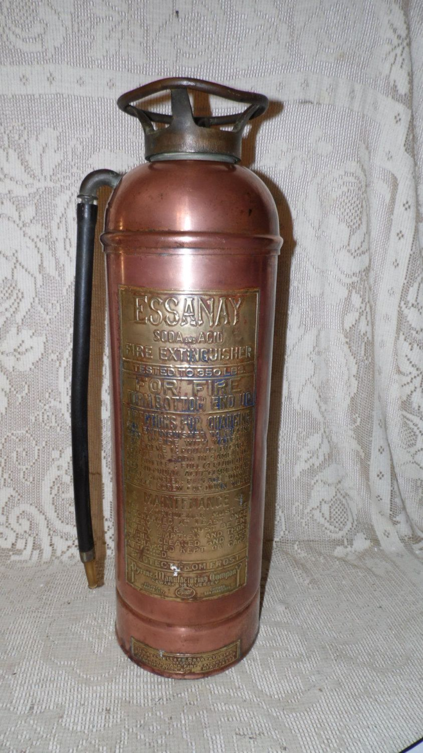 Antique Brass Copper Essanay Soda Acid Fire Extinguisher Pyrene Mfg