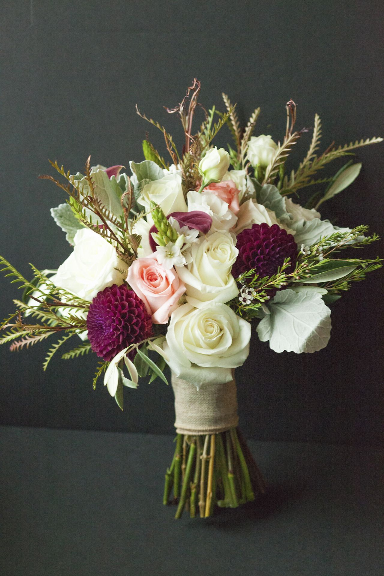 Vintage Bouquet, Cranberry, Pink, Cream And Sea Foam Green