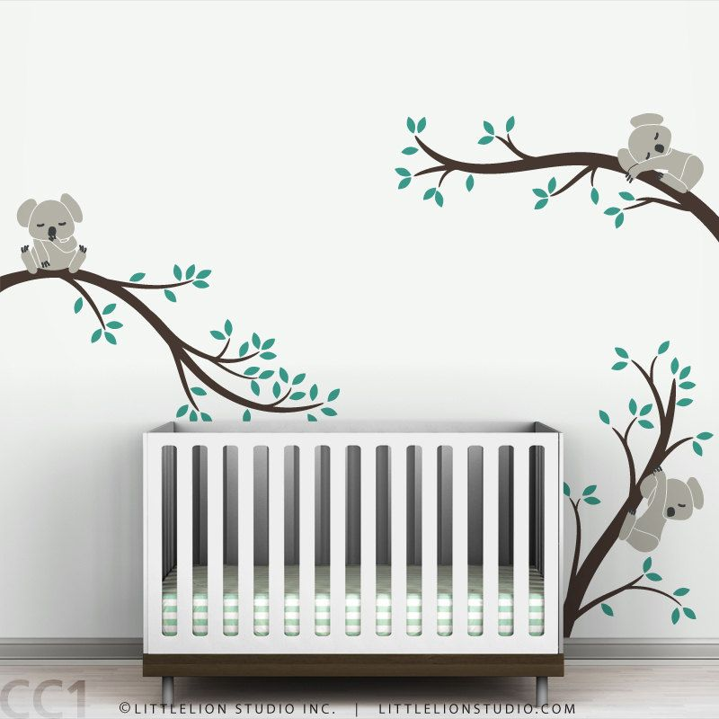 Koala Wall Decal Sleeping Koalas On Tree Branches Baby Nursery - Nursery wall decals australia