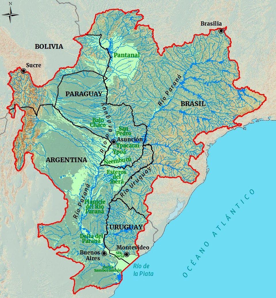 south america map rio de la plata R Mapporn Rio De La Plata River Plate Basin 1047 1130