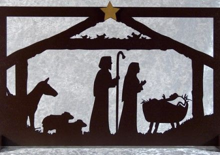 Christmas creche   silhouette frame in carved wood | Poeme noel