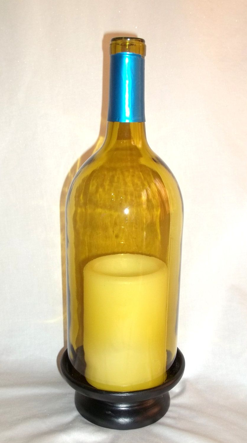 Winebottelighting golden yellow wine bottle candle light by