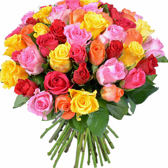 Ramo de rosas de colores rosas multicolor en un ramo - Ramos para regalar ...