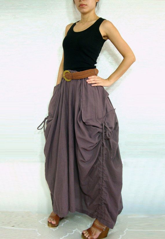 Lagenlook Hot Maxi Skirt Unique Long Skirt Big Pockets Summer Maxi ...