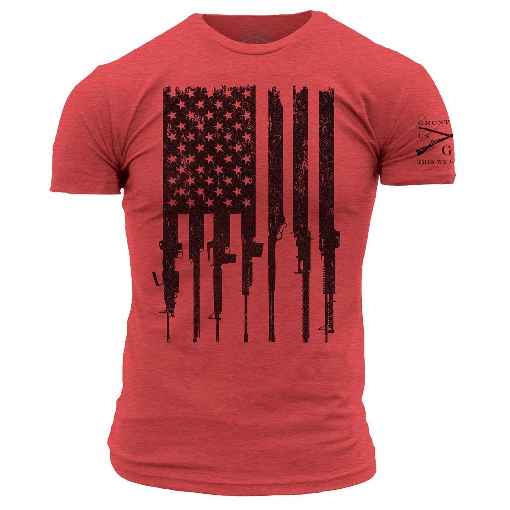 This We/'ll Defend® Long American Flag Olive T-Shirt Made of USA Mens 52//48 Blend