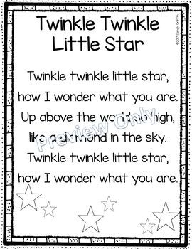 Twinkle Twinkle Little Star Printable Nursery Rhyme Poem For