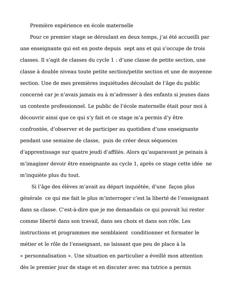 Rapport de stage master 1 meef sp cialit 1er degr semestre 1 note 16