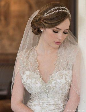 6661 Double Row Headband Of Rhinestones Hairdo Wedding Bridal