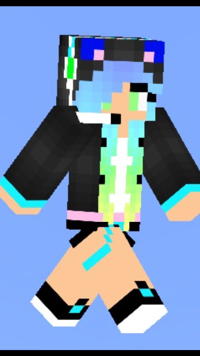 This Is A Gamer Girl With Blue And Green Hair And A Bushy Tail