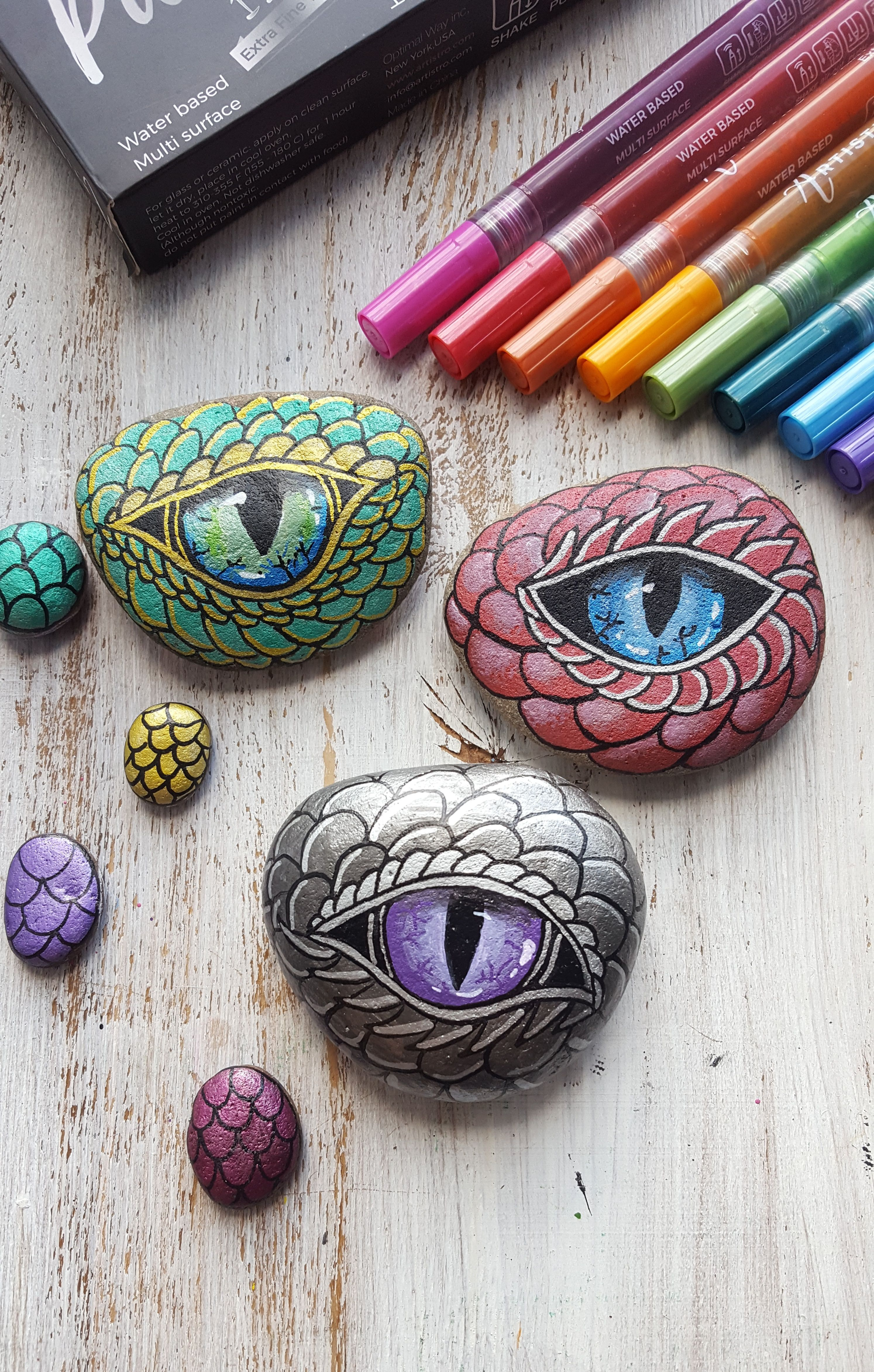 Metallic Paint Pens For Rock Painting And More Set Of 12 Acrylic Paint Markers Extra Fine Tip 0 7mm Mandala Rock Art Rock Painting Patterns Painted Rocks
