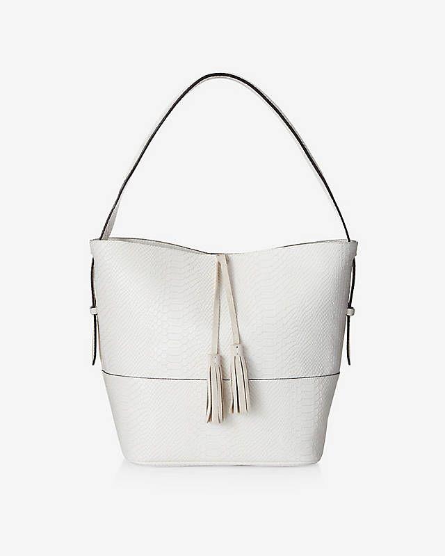White Faux Snakeskin Tassel Hobo Bag   Express