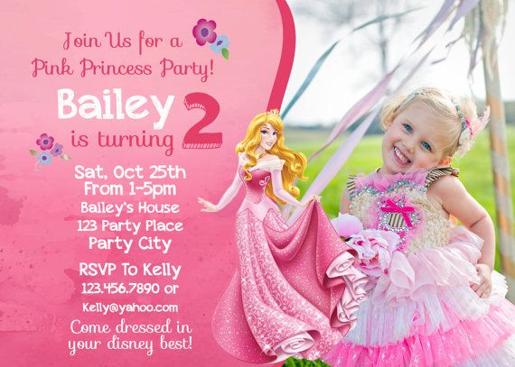 Sleeping Beauty Birthday Invitation Invite Disneys Aurora Disney Princess Party Princesses Girl Pink Watercolor Card Printable Prince
