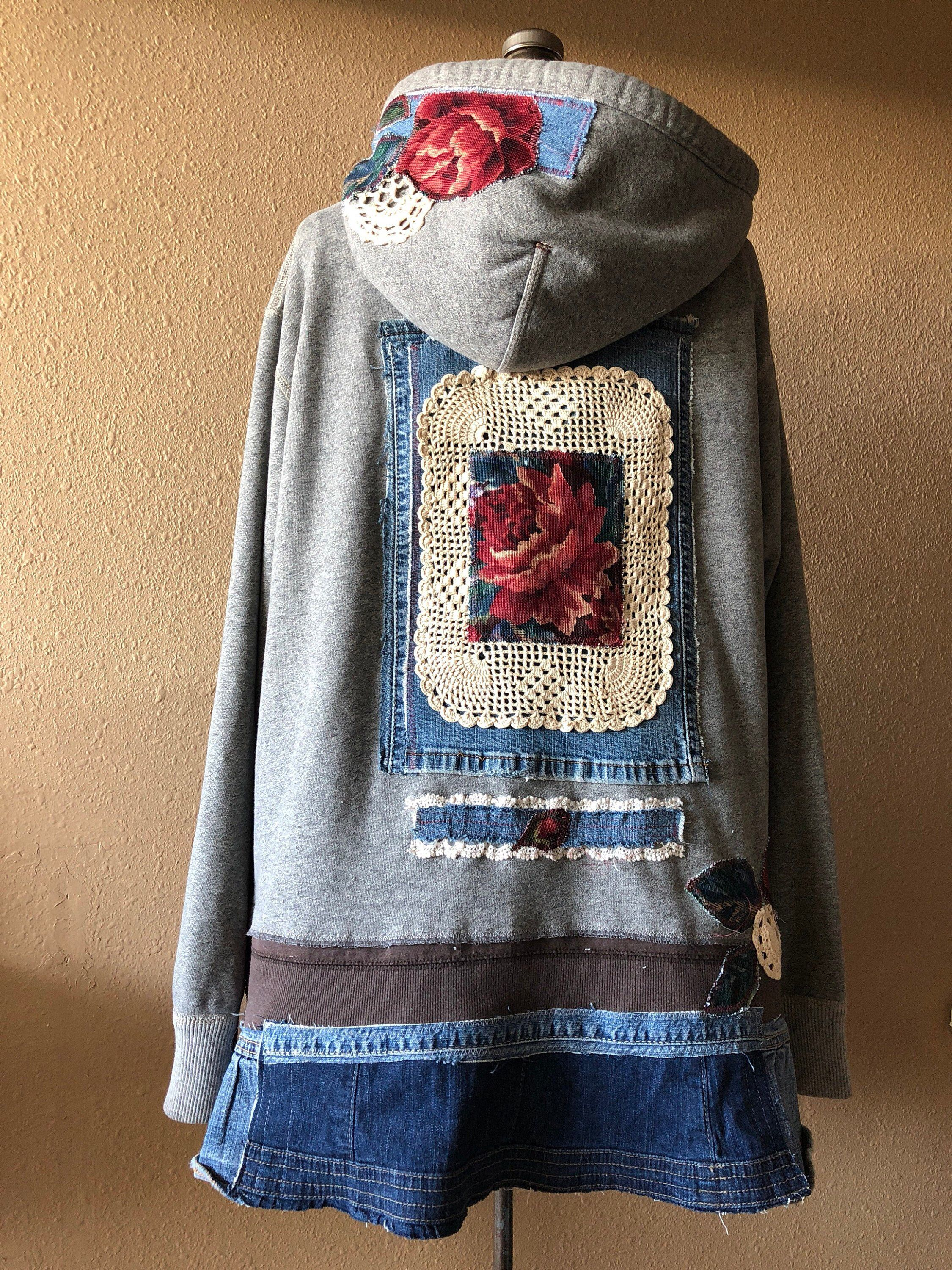 889651e7c47 Excited to share this item from my  etsy shop  Upcycled Boho Gypsy Rose  Tapestry Hoodie Jacket