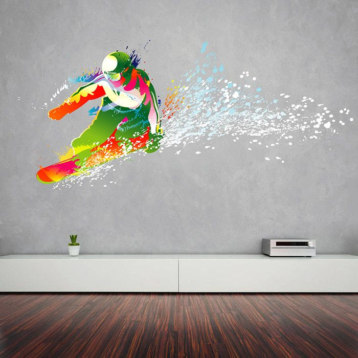 Kcik116 full color wall decal snowboarding snowboarder for Snowboard decor