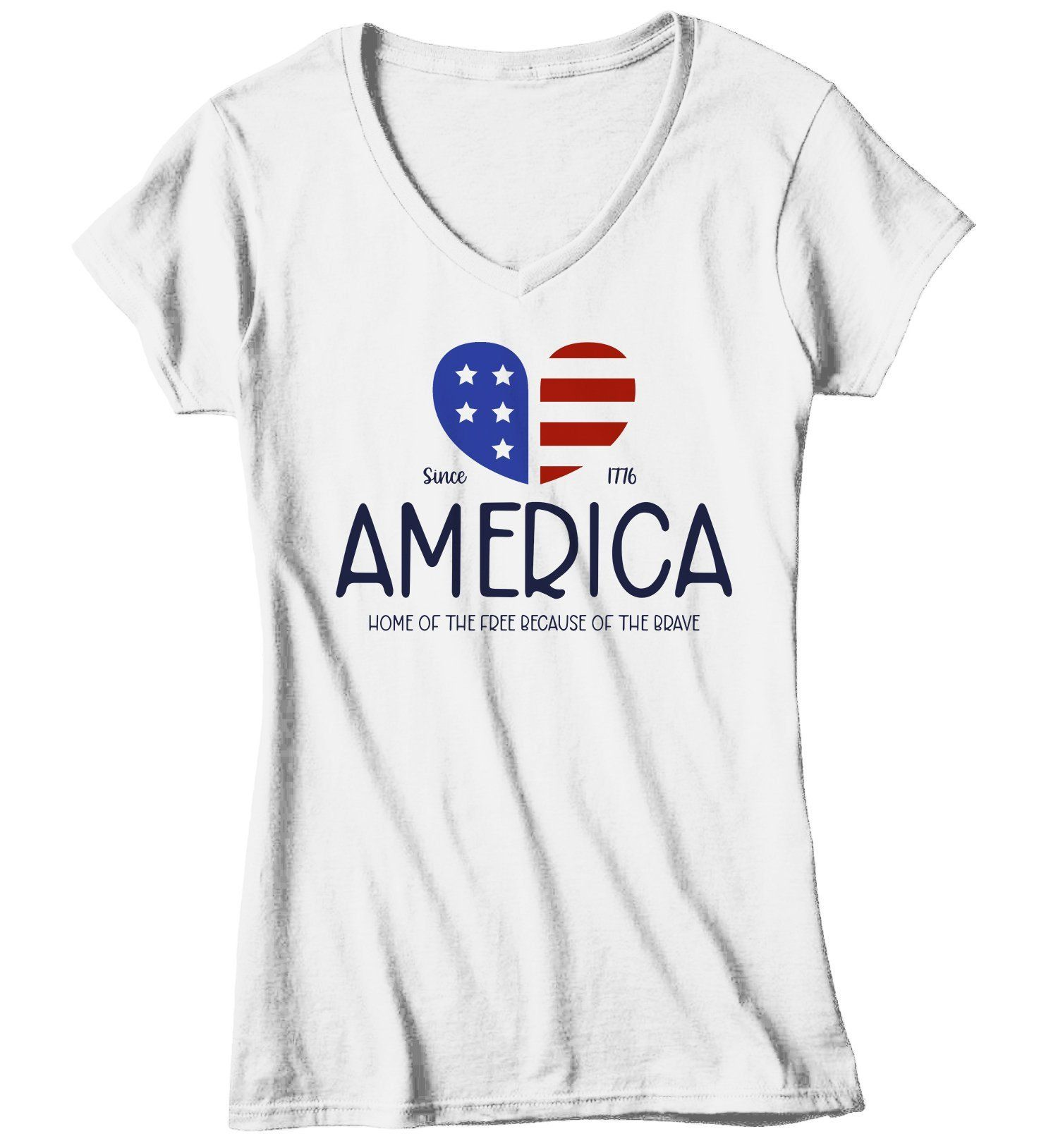 Women's Vintage America T-Shirt Heart Flag Patriotic Shirts 4th July T-Shirt Shirt Flag Home Of Free Because Of Brave Tee 1