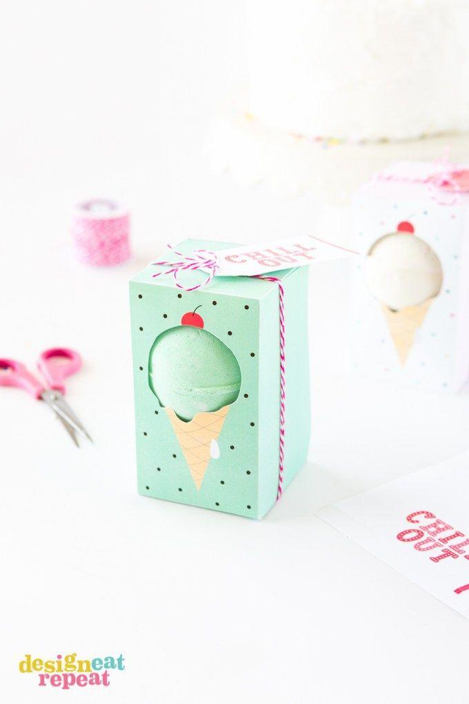 DIY: ice cream bath bomb gift boxes (free printable template)   FREE ...