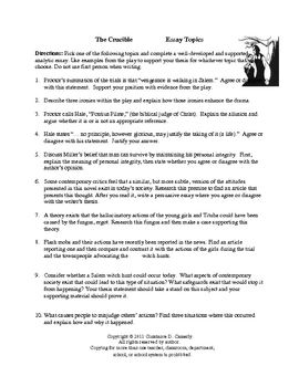 The Crucible Essay Topic Reading Classroom Of