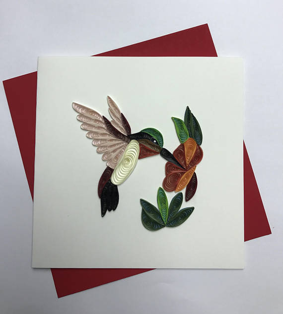 Hummingbird quilling greeting card quilling cards and paper quilling m4hsunfo