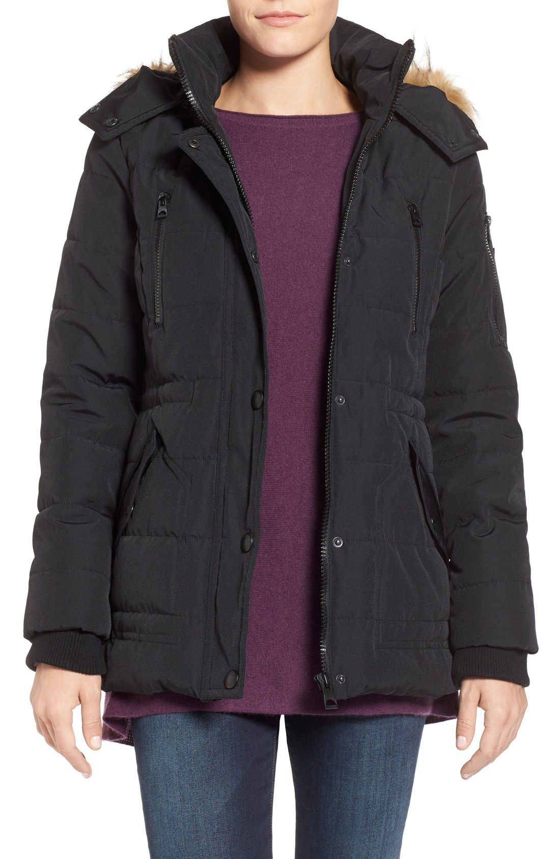 GUESS 'Expedition' Short Quilted Parka with Faux Fur Trim | A ...
