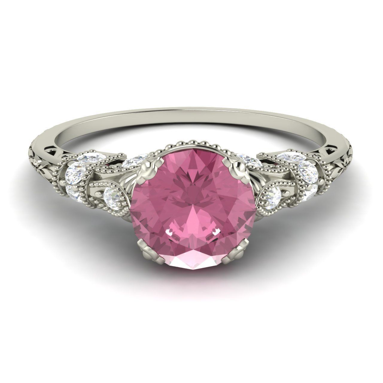 Royal Pink Sapphire & SI Diamond Engagement Ring In 14k White Gold ...
