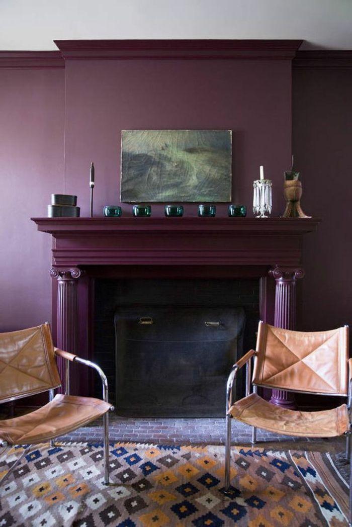 ▷ 1001 + idées comment combiner la couleur aubergine Salons, Wall - Comment Decorer Un Grand Mur