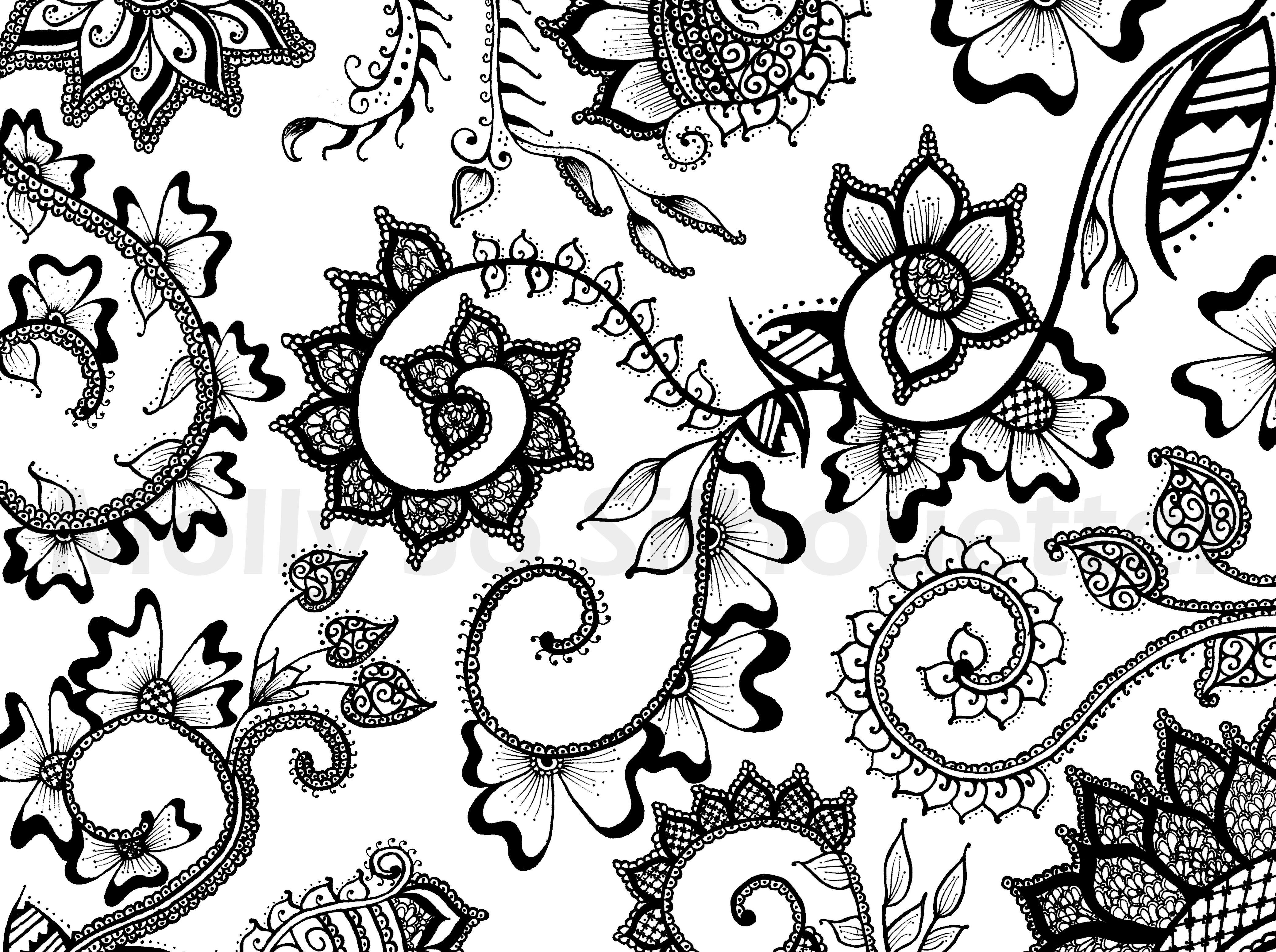 Mehndi Floral Pattern Traditional Indian Henna Design Pen And Ink
