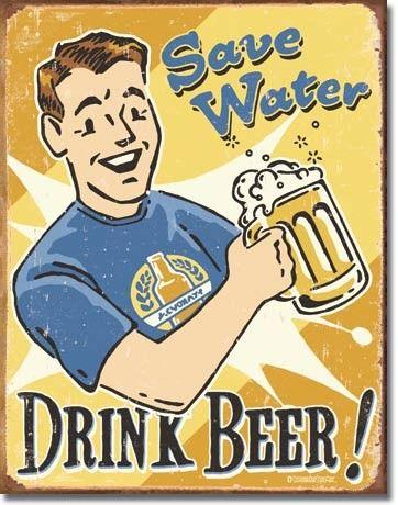retro vintage wall decor save water drink beer bar pub wood sign