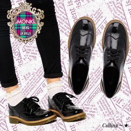 関税・送料込 セレブ愛用★MONKI★Toma Black Brogue Flat Shoes 秋冬トレンドのクラシックシューズでもオックスフォード、パテント素材は押さえておきたいアイテムです!マニッシュなコーデにいかがでしょうか~☆