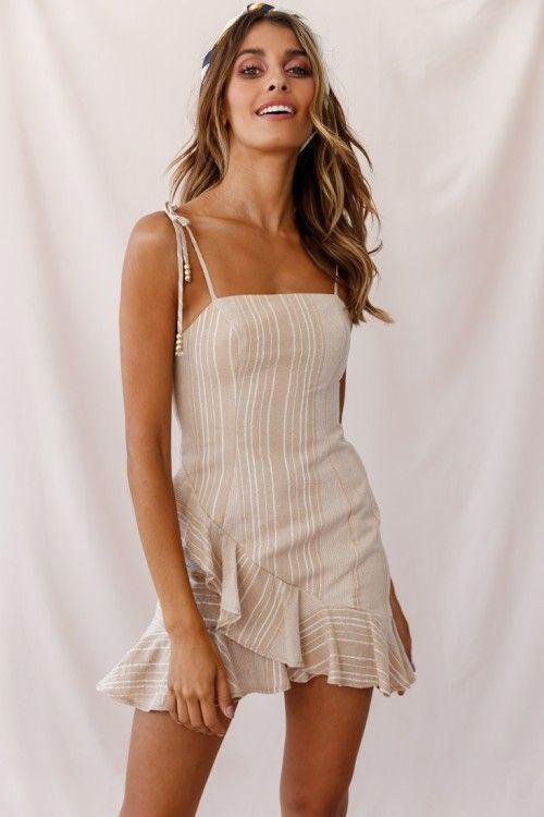 Lana String Tie Fluted Hem Dress Mocha/White Stripe