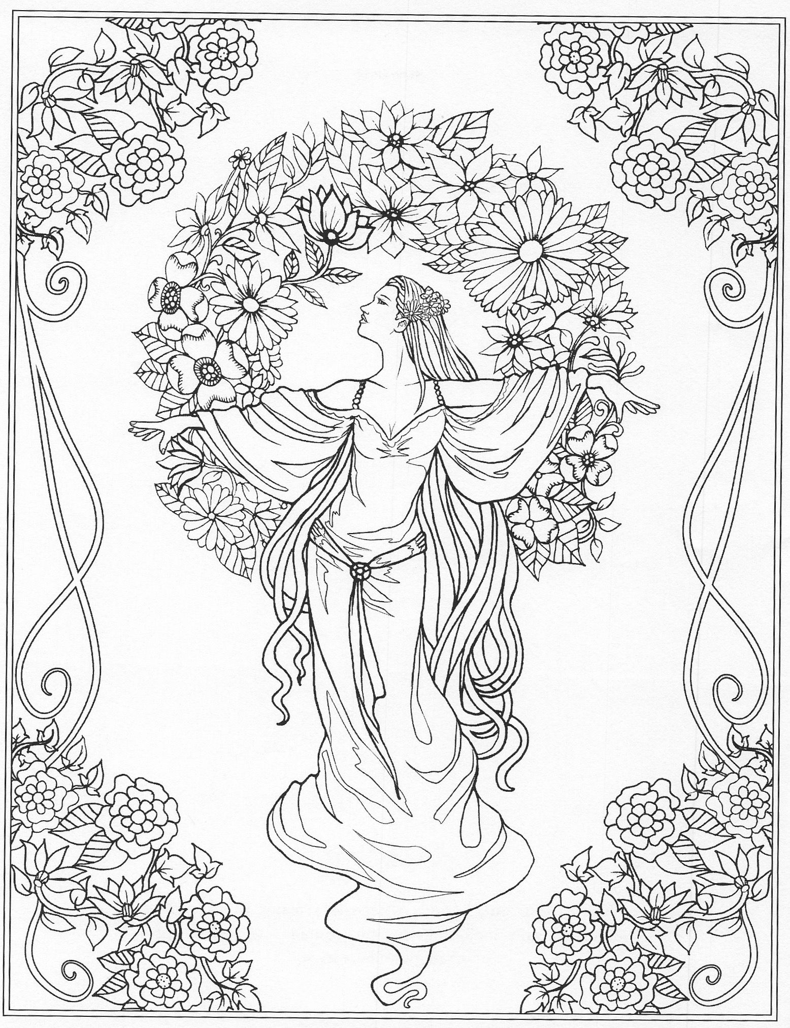 Beautiful Lady Amongst Flowers Coloring Page Flower Coloring