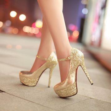 f17dd770487 Gold High Heeled Stilettos with sparkling platform and heel