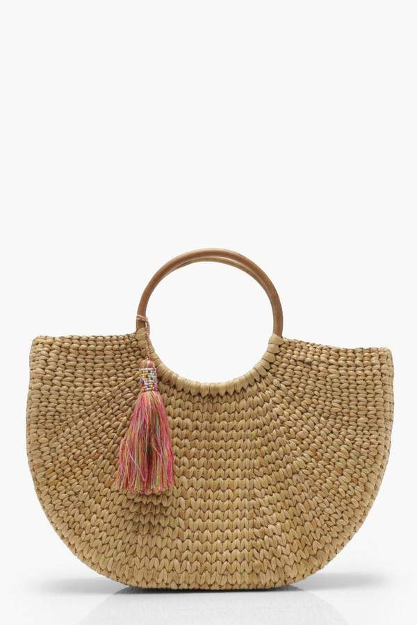 Handle Boohoo Amber Structured Straw La Plage Bamboo BagPour Yf76gyb