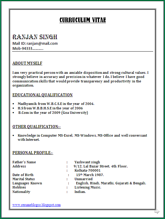 Simple Resume Format For Freshers In Word File 1 Png Thankyou Letter Org Simple Resume Format Resume Format In Word Resume Format Download