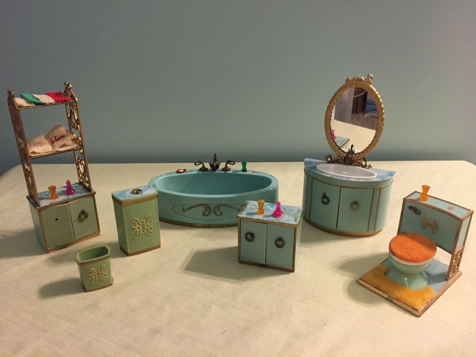 Vintage Ideal Petite Princess Bathroom Doll House Furniture Set InTurquoise  1:16