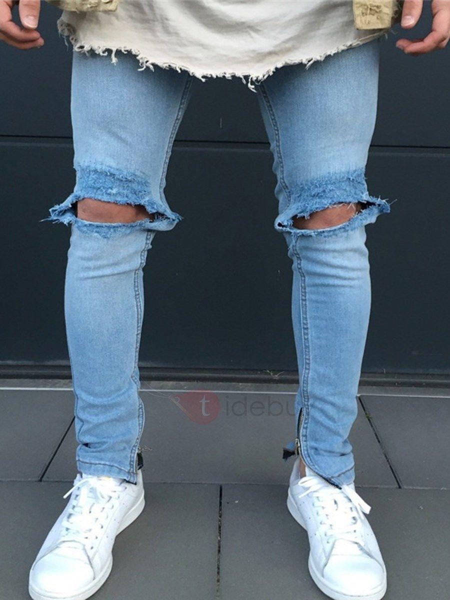 Pantalon Homme En Jean Genou Trou Slim Zippe Bleu 5 Des 55 Code