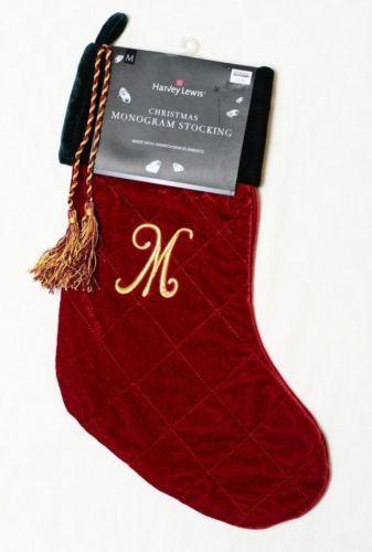 Letter Christmas Stockings.Harvey Lewis Letter M Monogram Christmas Stocking Swarovski Crystals