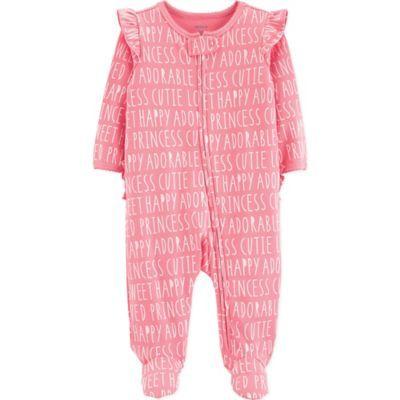 6603ee749 Carter s Newborn Slogan Sleep N  Play Footie In Pink