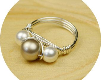 915398605cb8 Pearl Ring- Sterling Silver Filled Wire Wrap Ring with Platinum and ...