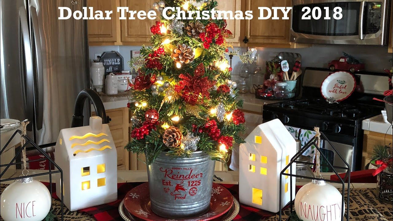 DollarTree Christmas Tree Tutorial Tree with lights and