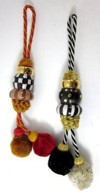 LOT 2 MACKENZIE CHILDS Multi Color Porcelain Fabric Pop Pop Napkin Holders Rings | eBay