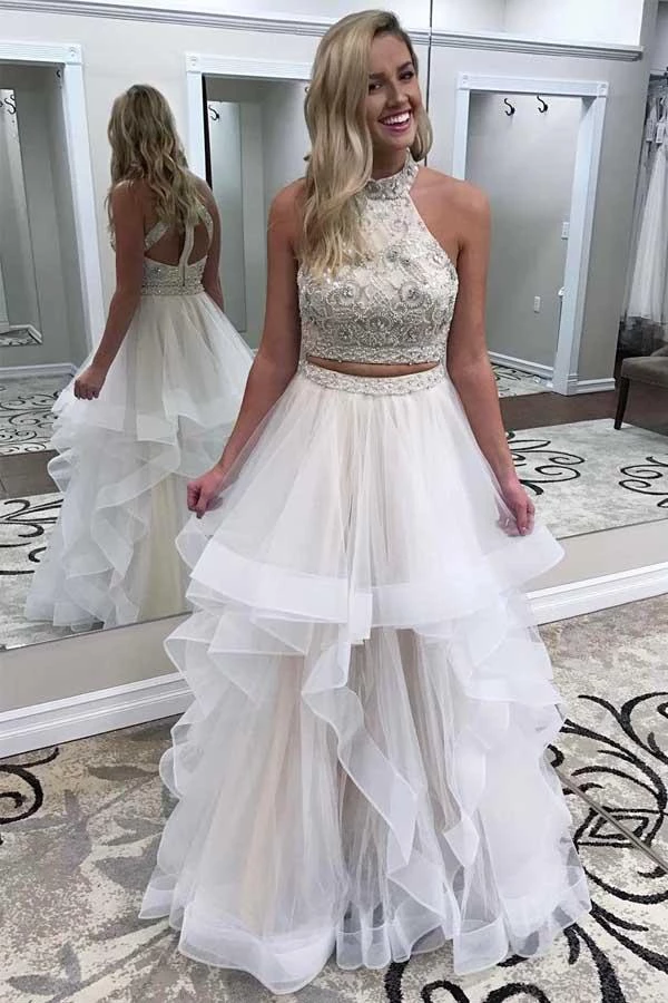 Photo of A line Ivory Beads Halter Ruffles Prom Dresses Long Open Back Par