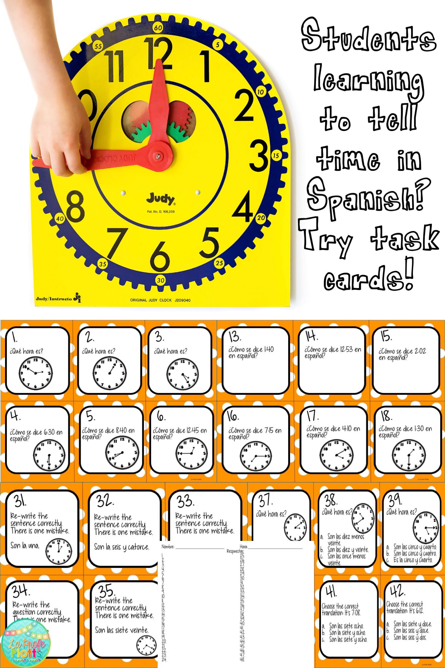 Telling Time In Spanish Task Cards