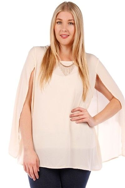 86a33f07044 Women s Plus Size Cape Top W  Acrylic-Necklace