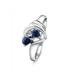925 Sterling Silver Natural Blue Sapphire Ring - USD $96.95