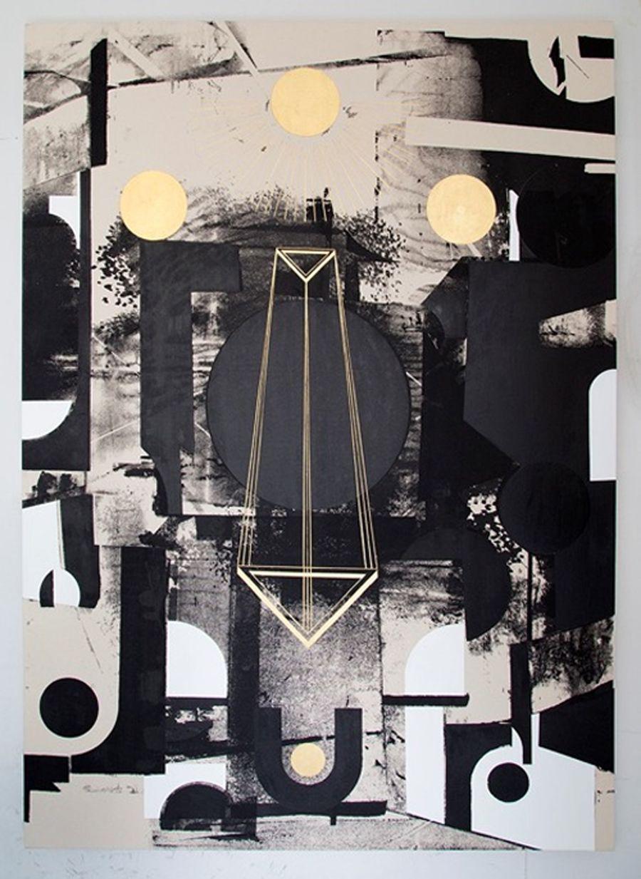 Panos Tsagaris | Untitled | 2016 | gold leaf, acrylic and silkscreen on canvas | 180 x 130 cm | Courtesy MLF Marie-Laure Fleisch (Rome - Brussels) & Kalfayan Galleries (Athens – Thessaloniki)
