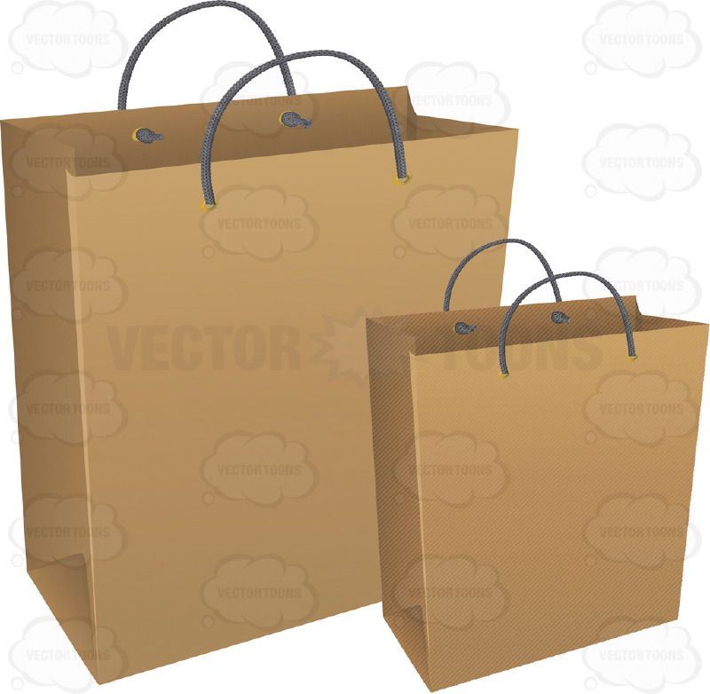 Smaller And Larger Brown Paper Shopping Bags Cartoon Clipart ...