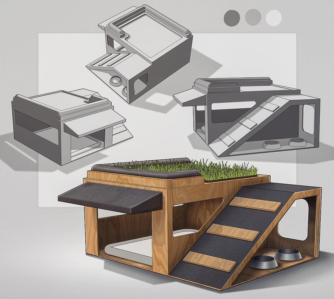 Dog House Design For Weeklydesignchallenge Dual Level With A Little Rooftop Grass Patio Weeklydesignc Dog House Diy Modern Dog Houses Cool Dog Houses