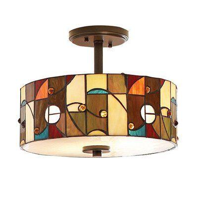 Allen Roth Drakeston 13 In W Tiffany Style Semi Flush Mount Ceiling Light