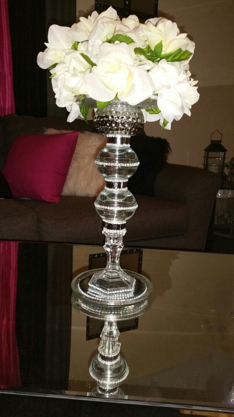 I So Love This Dollar Tree Diy I Did A Beautiful Glass Flower Vase A Great Center Piece I Dollar Tree Diy Crafts Dollar Tree Centerpieces Dollar Tree Diy