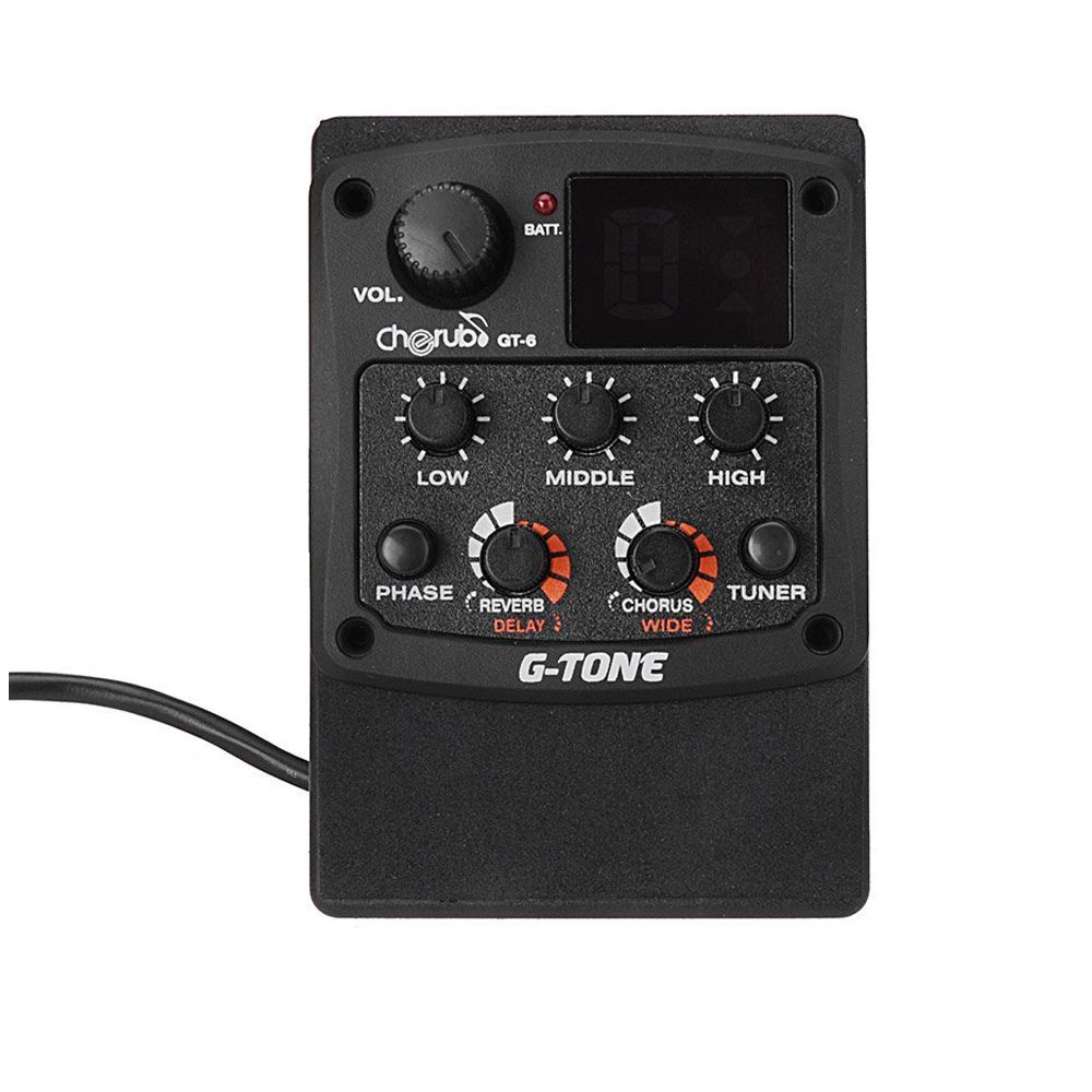 Cherub G Tone Gt 6 Acoustic Guitar Preamp Piezo Pickup 3 Band Eq Equalizer Lcd Tuner With Reverb Chorus Effects Acoustic Guitar Tuner Acoustic